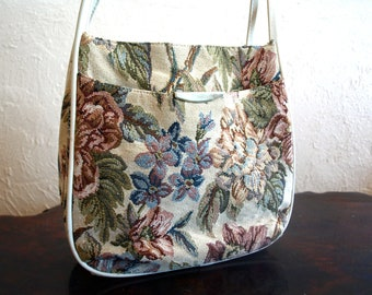 Sale - Vintage Cream Leather and Pink Floral Tapestry Hand bag