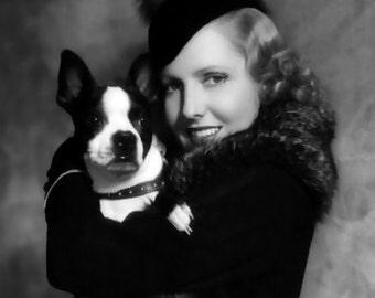 Vintage Boston Terrier with Actress Jean Arthur Print Decoupaged on Wood