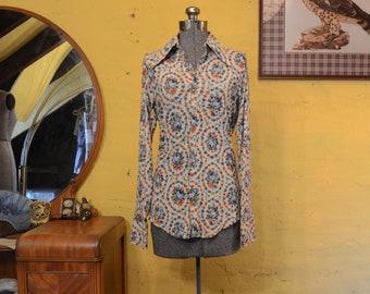 1970s Cowgirl Blue Roses Western Rockabilly Shirt S