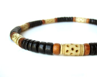 "Mens Jewelry - Tribal wood necklace for men with carved bone.  ""Morocco Necklace"""