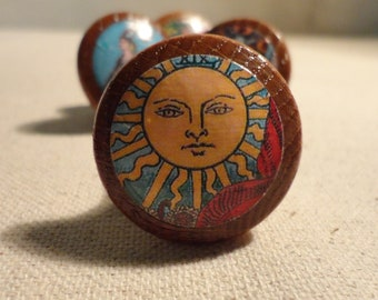 """Tarot Card Drawer Knobs/Drawer Pulls - 1 1/4"""" wide and 1"""" tall. (Set of 4)"""