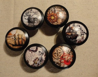 Pirate Themed Wooden Drawer / Cabinet Knobs - Drawer Pulls (Set of 6)