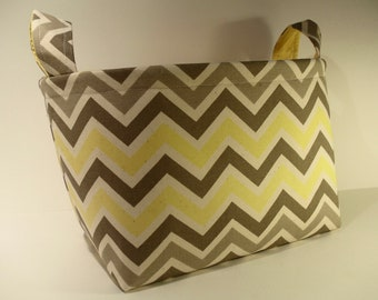 Large Fabric Storage Basket Bin Organizer Storage Container-Yellow, Gray and Ivory Chevron Zig Zag Stripe with Solid Yellow Interior