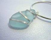Pale Blue Sea Glass Necklace, Wire Wrapped