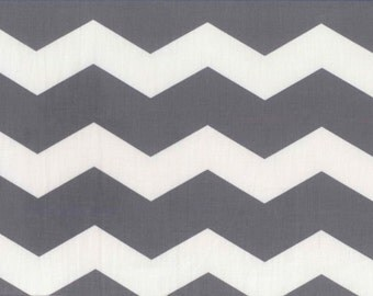 Gray and White Chevron Stripe Print Fabric 100% Cotton Quilting Sewing