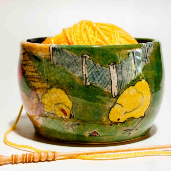 Yarn bowl of Rooster, chickens and a chicken coup