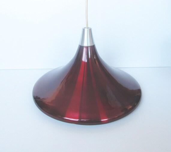 Red Violet aluminium pendant, beautiful vintage hanging light aluminium from 1960s