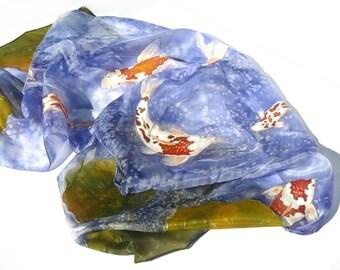 Koi carps fishpond painted silk scarf or wall decoration Animal silk scarf