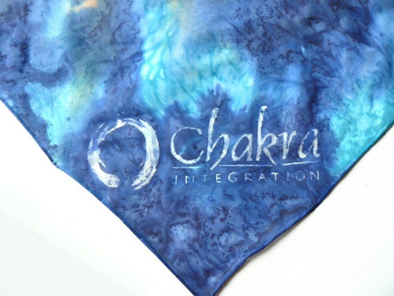 Scarf with your company logo, or any text - hand painted silk scarf