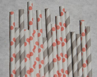 Coral Pink & Grey Paper Straws, 200 Pack