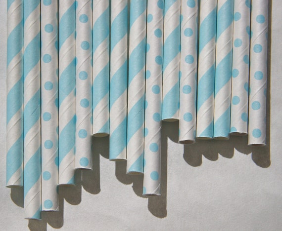 Baby Blue Paper Straws, 50 Pack, Light Blue Stripes and Light Blue Mini Polka Dots, Baby Shower Straws