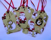 """8 Christmas Gift Tags - Santa, Penguin, Bear, Snowman and Tree on Green Background - Berry Red Ties - 2"""" x 3 1/4"""" - Handcrafted"""