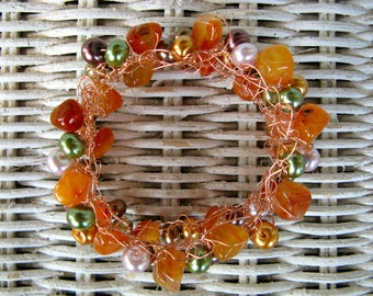 Copper Wire Crocheted Bracelet -Natural Agate, Glass Pearl