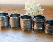 5 Unique Vintage Napkin Rings Shabby Chic Victorian Engraved