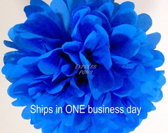 Bright Blue Tissue Paper Pom Pom - 1 Medium Pom - 1 Piece - Ships within ONE Business Day