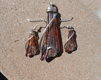 Blown Glass Pendant and Earring Set Silver Wrapped