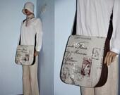 Natural Messenger Bag/Stylish French Script Bag/Large Travel Bag/ With Adjustable Strap/Beige&Chocolate Brown Shoulder Bag
