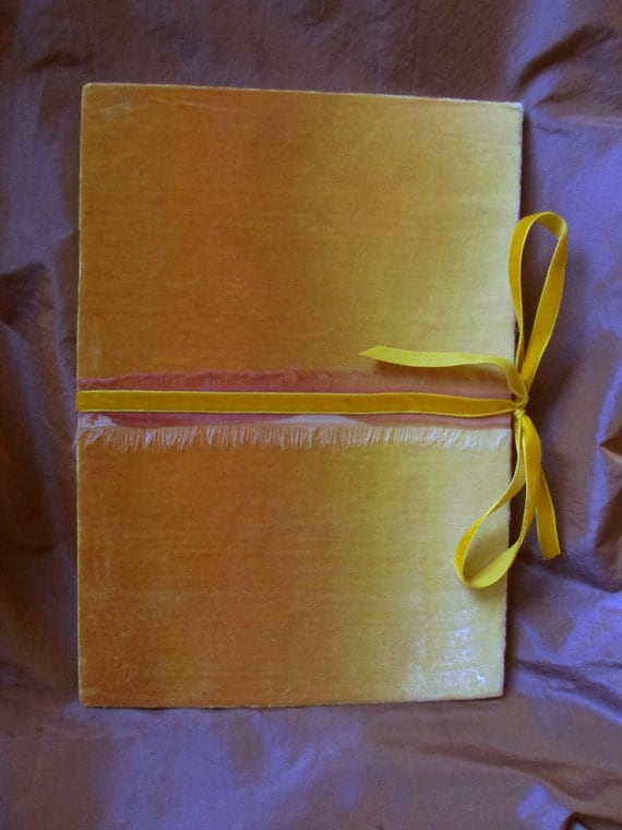 Velvet valentine covered notebook in ombre painted orange, clementine and canary yellow