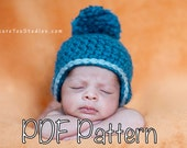 PATTERN:  Captain Adorable- hat, newborn size 0-3m, easy crochet, earflap pompom, chunky beanie, pdf, InStAnT DoWnLoAd, Permission to Sell