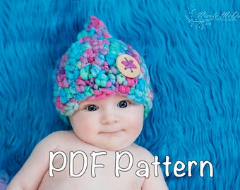 PATTERN:  Juliet Gnome Hat PDF Simple and Easy, crochet InstAnT DowNLoaD, Size nb-10y, Permission to Sell