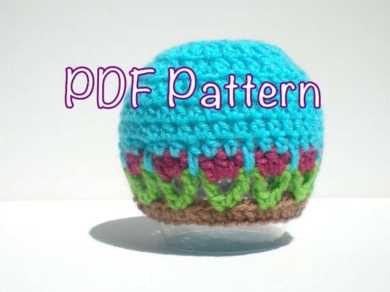 PATTERN:  Tulip Hat, Easy Crochet PDF, Newborn-3m, Tulips Beanie, InStAnT DoWnLoAd, Permission to Sell