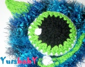 Newborn Monster Hat Baby Hats Photo Props Winter Beanie Cap Handmade GIfts Ski Hat Blue Monster Hat Photo Props