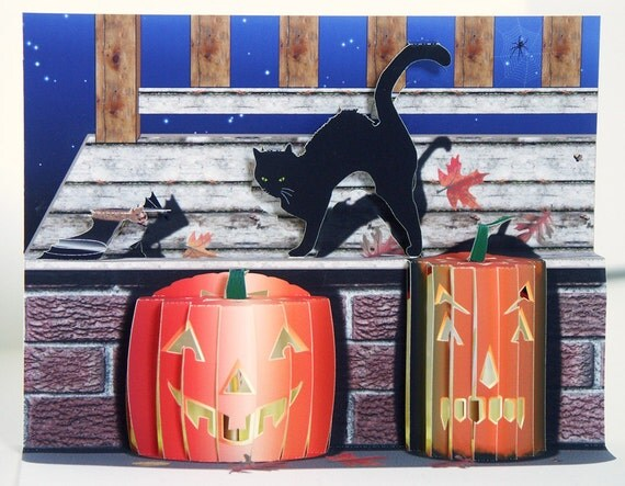 Pop up Halloween Card with black cat, carved pumpkins and bat