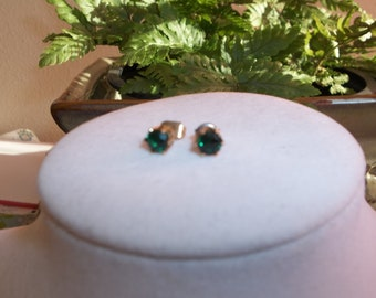 Green Stone Vintage Post Earrings