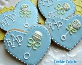 Baby Rattle Decorated Sugar Cookies Baby Shower Cookie Favors One Dozen