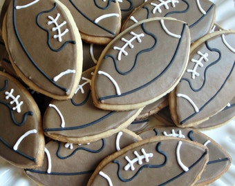 Football Decorated Cookies Birthday Cookie Favors Back To School Cookies One Dozen