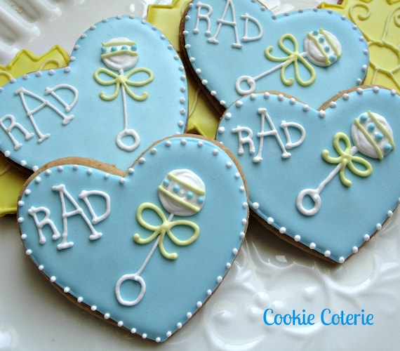 Items Similar To Baby Rattle Decorated Sugar Cookies Baby