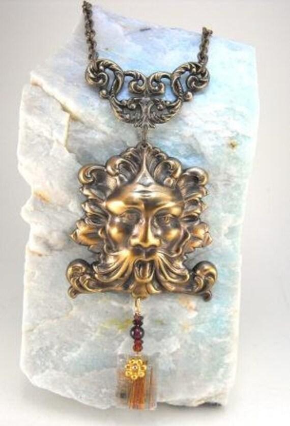 RESERVED: Artisan Necklace Antique Brass Elements Garnets Copper Quartz Losenge