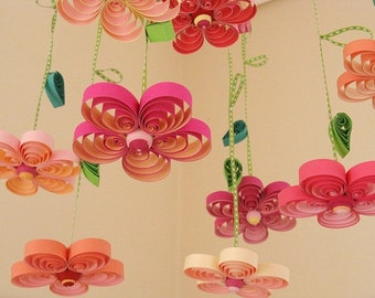 Baby Mobile - Crib Mobile - Quilling Crib Mobiles Girl - Blossom Mobile - Quilled Floral Mobile - Mobile Flowers - Pink Mobile - Mobils 1A