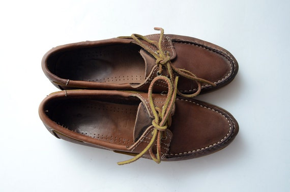 Vintage brown leather nautical loafers
