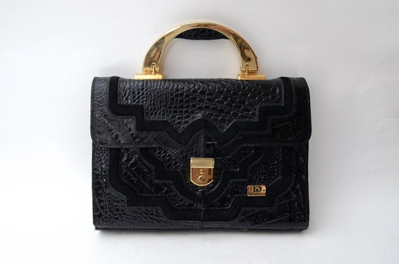 Vintage black patent croc handbag // purse // bag