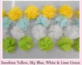 Lime Green Chiffon Flower Trim- Sky Blue Chiffon Flower  Trim- White Chiffon Flower Trim-  Yellow Chiffon Flower Lace Trim DIY 1 x YARD