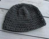 Crochet mens Beanie Skull cap Grey