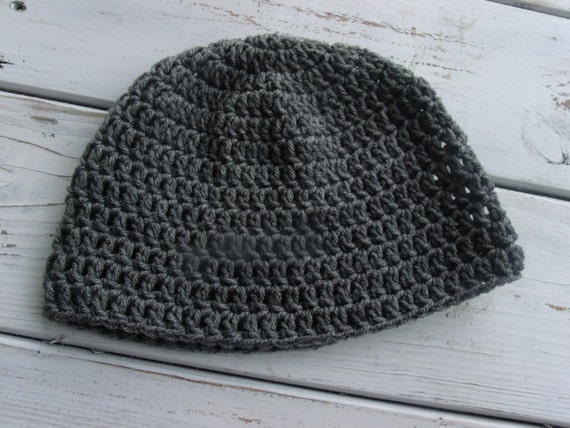 Crochet mens Beanie Skull cap Grey by browntowncreations on Etsy