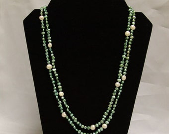 Pearl Necklace - 48 inches-5-9mm, Green and White Freshwater Pearl Necklace- Free shipping