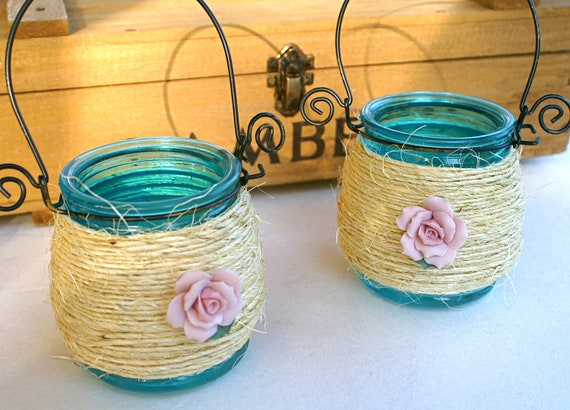 Glass Hanging Lantern Candle Holders Blue