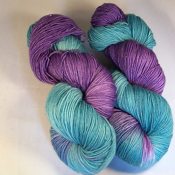 Fantasy on Silver Sparkle SW Merino Nylon Stellina Hand dyed fingering weight sock yarn