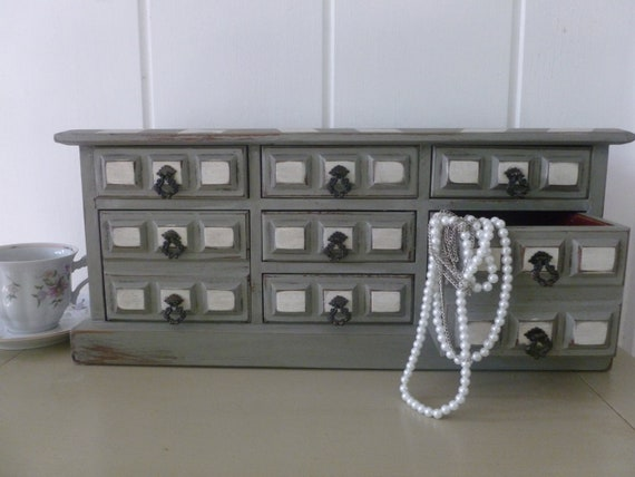 Large Upcycled Jewelry Box in Grey and White