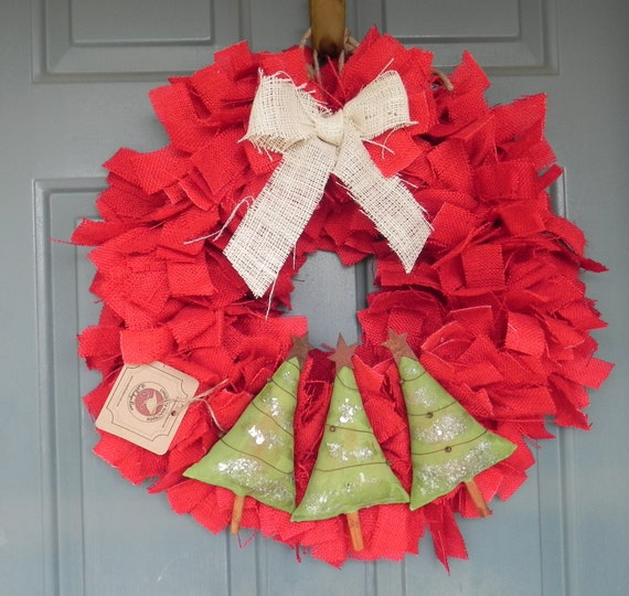 Burlap And Red Christmas Tree: Burlap Christmas Wreath With Trees Red Green And By