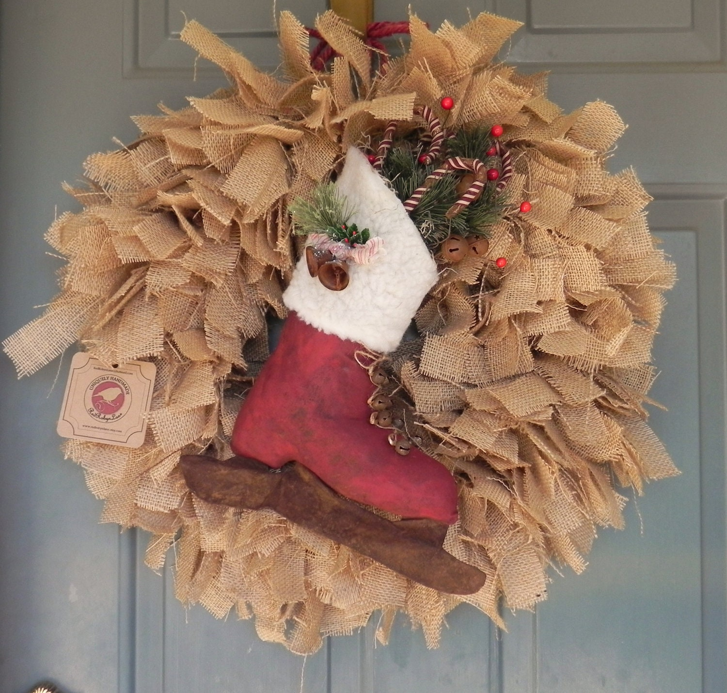Burlap christmas wreath with large ice skate by redrobynlane Burlap xmas wreath