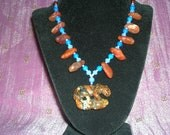 Carved PETRIFIED WOOD OPAL Jaguar Leopard With Hammered Carnelian Beads Set Nacklace