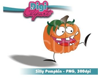 Halloween Clip Art - Funny Face Pumpkin 3