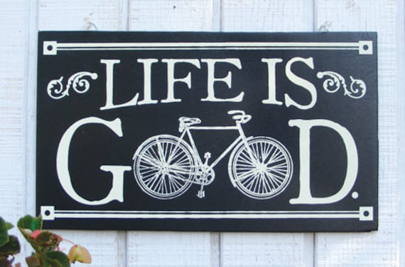 Antique Bicycle Wood Sign Bike Sign Life Is Good