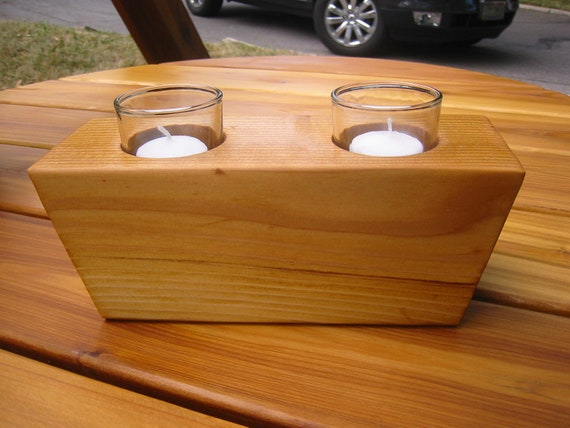 Double Votive Cedar Candle Holder