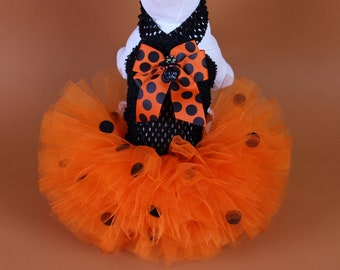 HALLOWEEN Dog Tutu Dress -- Orange Dottie