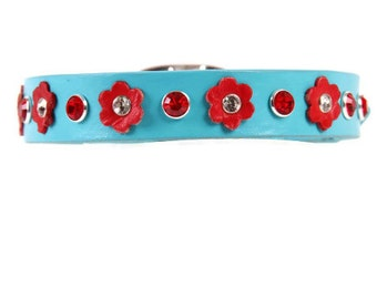 Aqua Leather Dog Collar with Red Flowers